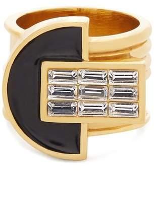 Cercle Amédée - Night Owl Crystal Embellished Enamel Ring - Womens - Black