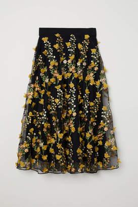 H&M Embroidered Tulle Skirt - Black - Women