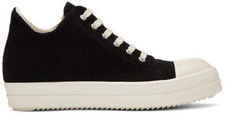 Rick Owens Black Stretch Velour Low Sneakers