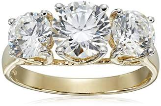 Swarovski 10K Gold Zirconia 3 Stone Ring (3 cttw)