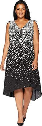 Adrianna Papell Women's Size Plus Moody DOT HIGH Low Dress