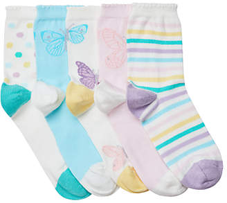 John Lewis & Partners Girls' Butterfly Socks, Pack of 5, Multi