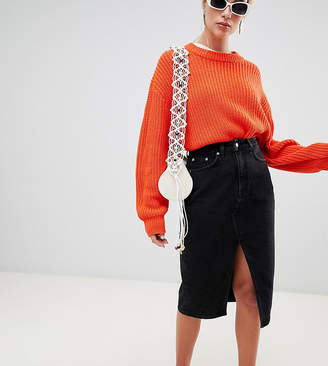 8156c4b604 Weekday Denim Skirt with Front Split and Raw Hem in Organic Cotton