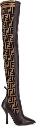 Fendi Logo Over the Knee Heel Boots in Black & Brown | FWRD