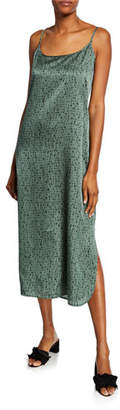 Eileen Fisher Dash-Print Scoop-Neck Maxi Slip Dress