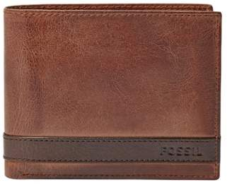 Fossil Quinn Large Coin Pocket Bifold Wallet Brown