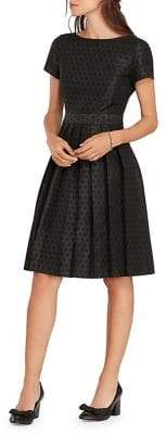 Brooks Brothers Red Fleece Pleated Polka Dot Fit-&-Flare Dress