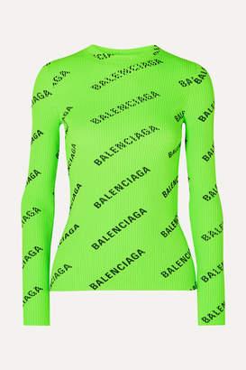 Balenciaga Printed Ribbed-knit Top - Green
