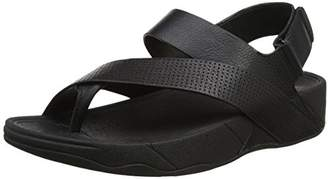 FitFlop Sling Perf Mens Leather Sandal Open-Toe (Black), 44 EU