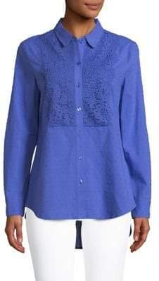 Isaac Mizrahi IMNYC Dot Texture Button Down Shirt With Lace