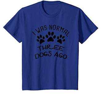 I Was Normal Three Dogs Ago - Funny Canine Paw Print T-Shirt