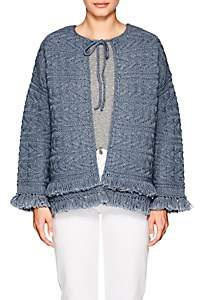 Current/Elliott WOMEN'S THE CABLE FRINGE SWEATER - BLUE SIZE 1