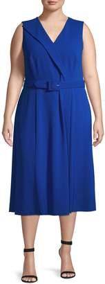Calvin Klein Surplice Belted Midi Dress
