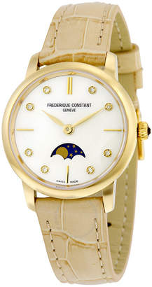 Frederique Constant Slim Line Gold-tone Case Moonphase Ladies Watch