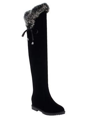 0dbb3272cae BIGTREE Womens Boots Thigh High Over The Knee Snow Boots Flat Faux Suede  Lace Warm Winter