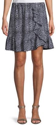 MICHAEL Michael Kors Ruffle-Trim Leopard-Print Skirt