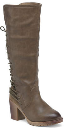 Lace Up Back Knee High Boots