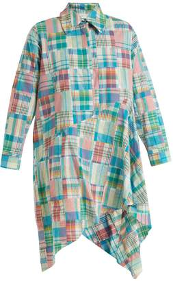 Marques Almeida MARQUES'ALMEIDA Gingham asymmetric-hem shirtdress