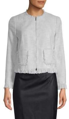 Rebecca Taylor Fringed Zip-Front Jacket
