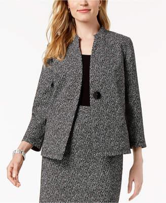 Kasper One-Button Knit Jacquard Jacket, Regular & Petite Sizes