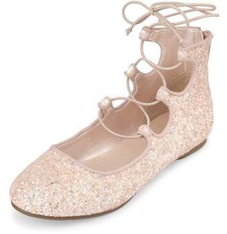 Children's Place The Girls' Glitter Lace Up Flat