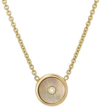 Mother of Pearl Retrouvaí Mini Compass Necklace - Yellow Gold