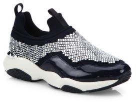 Salvatore Ferragamo Giolly Crystal Sneakers $795 thestylecure.com