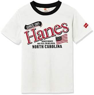 Hanes (へインズ) - [ヘインズ] 衿配色Tシャツ HX8719 ホワイト 日本 130-(日本サイズ130 相当)