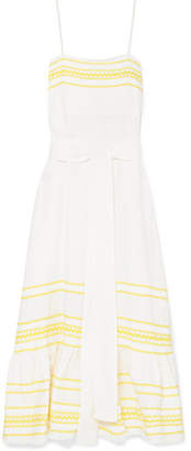 Lisa Marie Fernandez Fiesta Rickrack-trimmed Linen Dress - Pastel yellow