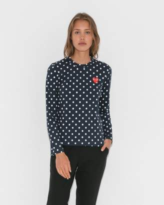 Comme des Garcons Navy/White Polka Dot T-Shirt