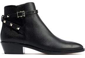 Valentino Garavani Studded Strap-detailed Textured-leather Ankle Boots