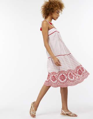 Monsoon Josette Stitch Detail Broderie Hem Dress