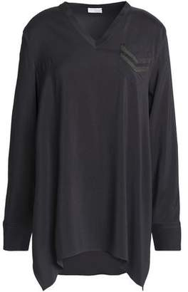 Brunello Cucinelli Draped Bead-Embellished Stretch-Silk Blouse