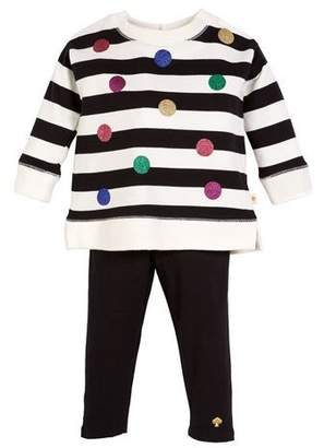 Kate Spade Striped Sequin Dot Sweatshirt W/ Solid Leggings, Size 12-24 Months