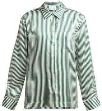 Asceno - Striped Sandwashed Silk Pyjama Top - Womens - Green Stripe
