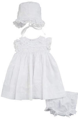 Luli & Me Lace & Ruffle Dress w/ Matching Bonnet & Bloomers, Size Newborn-9 Months