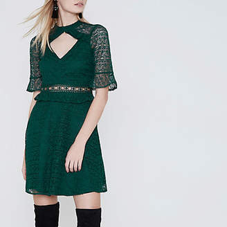 River Island Womens Dark Green lace frill waisted dress