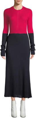 Cédric Charlier Crewneck Long-Sleeve A-Line Colorblocked Cotton Midi Dress