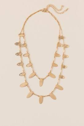 Hailey Hammered Oval Layered Link Necklace - Gold