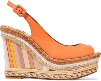 Valentino Leather Platform Espadrille Wedge Sandals