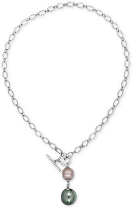 Majorica Sterling Silver Imitation Pearl Toggle Lariat Necklace
