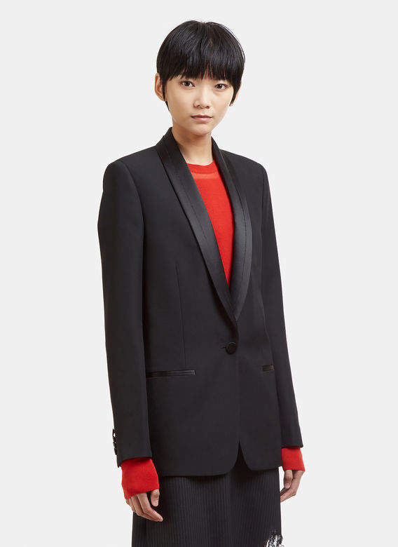 Deconstructed Tuxedo Jacket in Black
