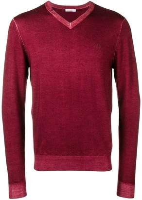 Sun 68 slim-fit logo v-neck sweater