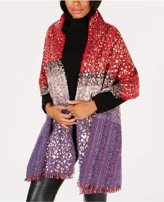INC International Concepts Metallic Animal-Print Blanket Wrap, Created for Macy's