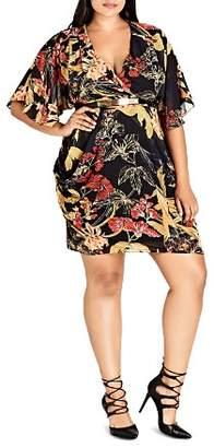 City Chic Plus Printed Faux-Wrap Dress