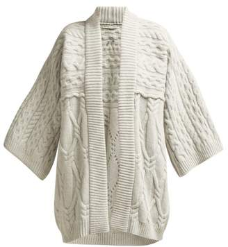 Queene And Belle - Kitami Cable Knit Wool Cardigan - Womens - Light Grey