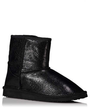 George Black Shimmering Faux Fur Lined Slipper Boots