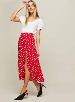 Miss Selfridge Red floral print button side midi skirt