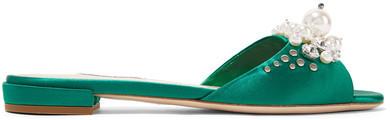 Miu Miu - Embellished Satin Slides - Emerald