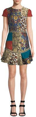 Alice + Olivia Rapunzel Curved-Hem Patchwork Mini Dress
